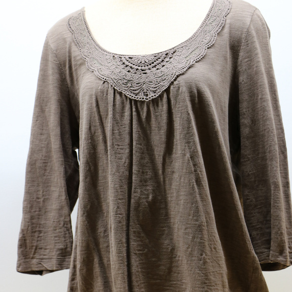 St. Johns Brown Long Sleeve Crochet Neck Blouse XL